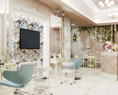 Дизайн интерьера салона красоты в Краснодаре. Под ключ.
