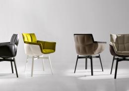 стул, кресло, италия, B&B Italia, стальной карскас, кожа, текстиль