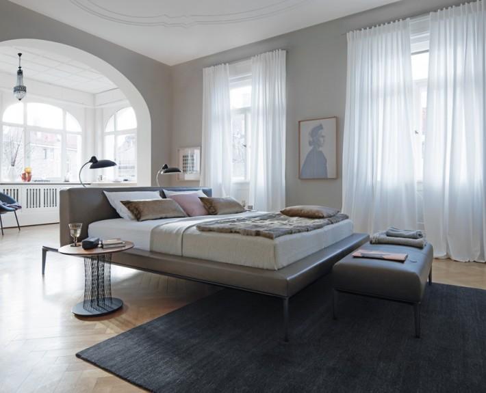 кровать, кровать со стандартным изголовьем, германия, walter knoll, кожа, текстиль
