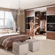 спальня, гардеробная, женская спальня, кровать, пуф
