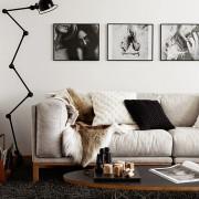 мужской интерьер, диван, лампа, картины, мех