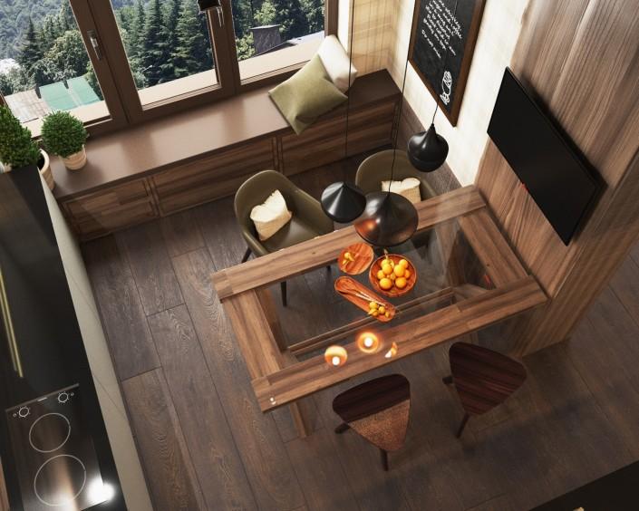 Дизайн интерьера кухни п. Красная поляна от Студии FRINO