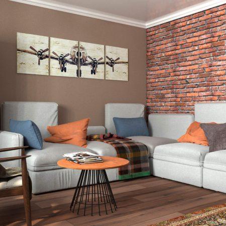 Интерьер гостиной, в современном стиле. Вид на диван.