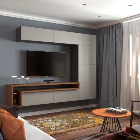 Интерьер гостиной, в современном стиле. Вид на стенку ТВ.