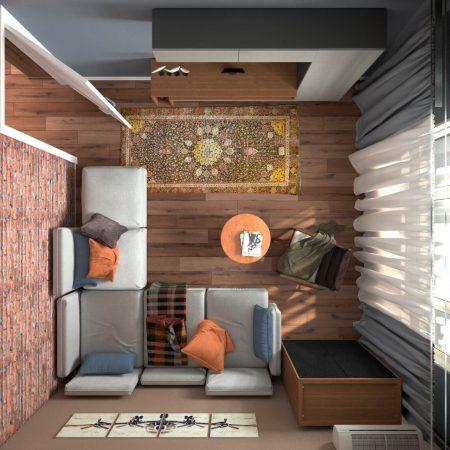 Интерьер гостиной, в современном стиле. Вид сверху.