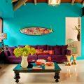 Бирюзовая гостиная в мексиканском стиле